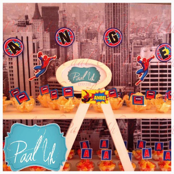 Paal uh mesa de postres amp snacks dulces y botana party spiderman