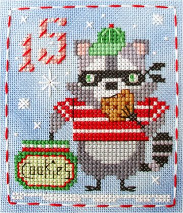 #15 Rascal Raccoon of the Brooke's Books Advent Animals Cross Stitch Freebies Collection by Brooke Nolan http://www.brookesbooks.com/CrossStitchFreebies2.html  #animaladvent #adventanimals #crossstitch #brookesbooks #brookesbooksstitching