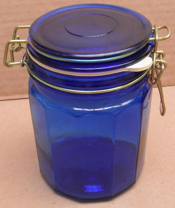 Blue Glass Kitchen Canister Storage Container With Lock Latch Lid 5
