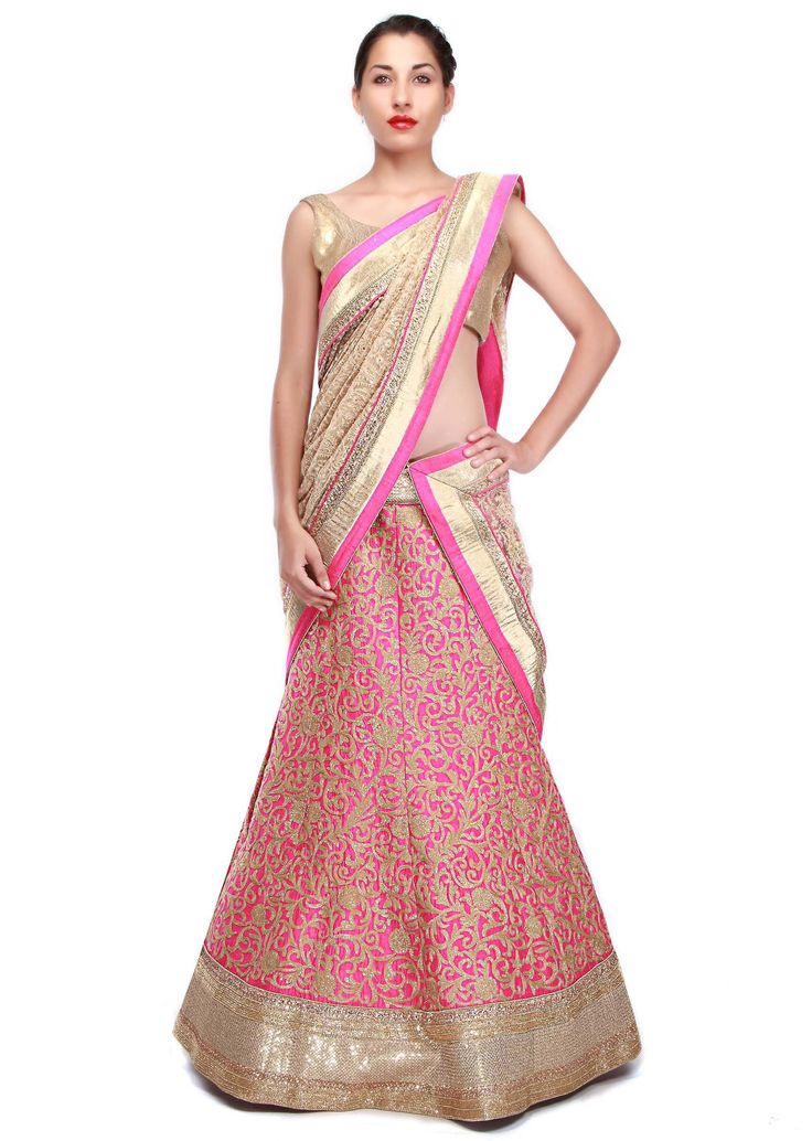 Pink raw silk lehenga adorn in thread embroidery in floral and paisley motif only on Kalki - Kalkifashion.com
