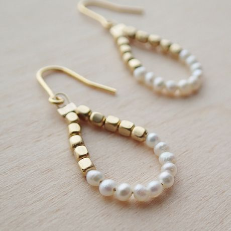 k14gf ultra-small pearl × Gold Drop Earrings