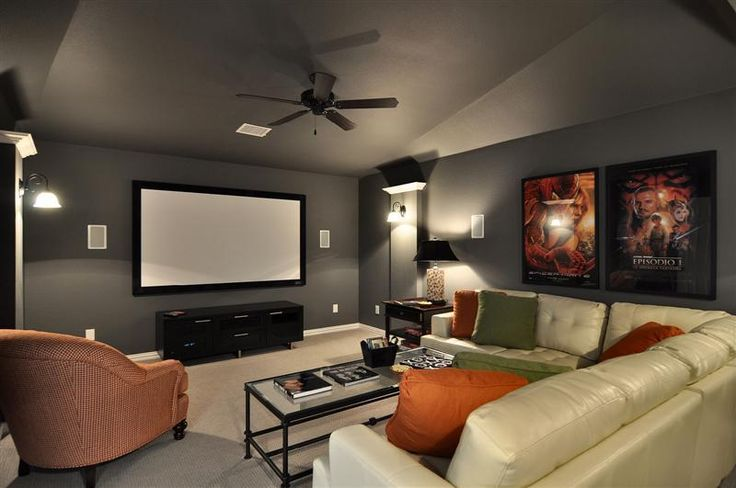 17 best images about media room ideas on pinterest bonus rooms grey and gray couches - Best paint color for home theater ...