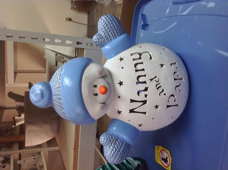 Personalized ceramic snowman with your name.  Bisque (not painted) sells for $25.00,  painted $40.00.  Call and place your order now.  219 362-6707