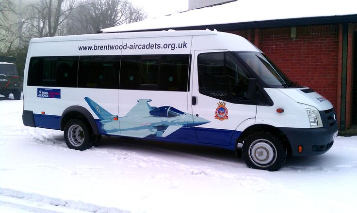 Brentwood Air cadets minibus with printed vinyl plane image and logos.