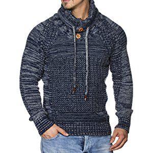 tazzio Hombre Styler punto grueso de jersey con cuello Melange patrón 16480