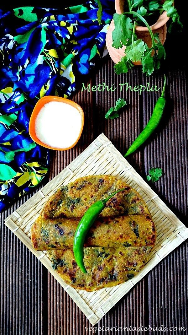 Theplas (Gujarati flatbreads) are an important part of Gujarati cuisine. Methi Theplas are Gujarati flatbread made by combining fenugreek/methi leaves, wheat flour and other spices. These can be stored for a few days, so take them along while travelling or for your picnics.