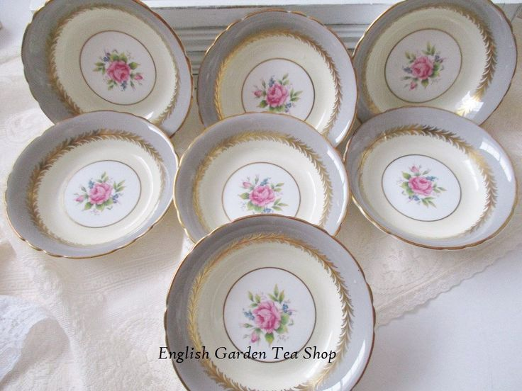 AYNSLEY 1930's DESSERT BOWLS, set of 7 gray and cream bowls with pink rose center and gold accent, fine dining china, excellent condition