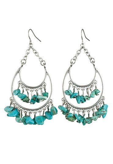 Turquoise Bead Drop Earrings available at #Maurices