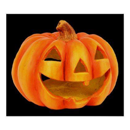 Helloween carved pumpkin funny holiday greeting poster - holidays diy custom design cyo holiday family