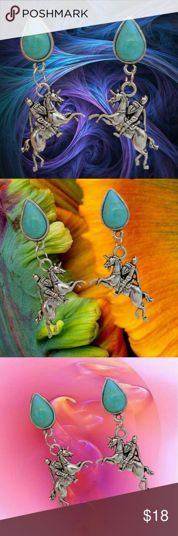 """1.8"""" Punk Horse Knight Waterdrop Pierced Earrings 1.8"""" Punk Horse Knight Waterdrop Pierced Earrings   1.8"""" Punk Horse Knight Waterdrop?Pierced Earrings   Materials: Alloy, Resin  . 7R . Jewelry Earrings"""