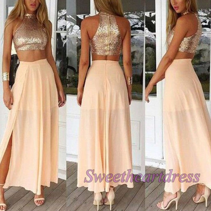 High neck two pieces prom dress, unique sparkly ball gown, 2016 handmade champagne chiffon side slit long evening dress for teens sweetheartdress.s... #promdress #coniefox #2016prom