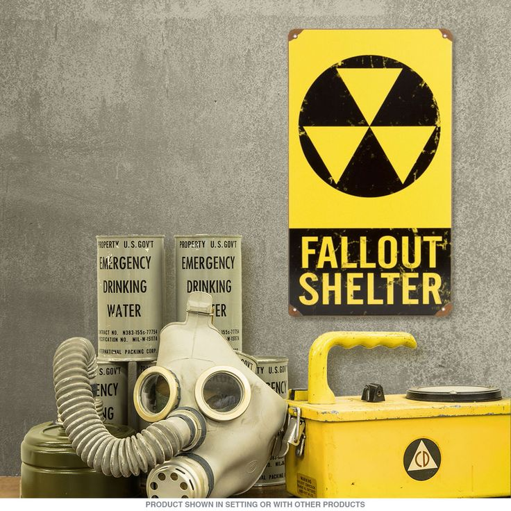 Fallout Shelter Distressed Metal Sign | Vintage Atomic Age Decor | RetroPlanet.com Create your own refuge with this War Zone Fallout Shelter Sign. Perfect for game rooms, garages, dens, and bars. Also makes a great gift for collectors of military items.