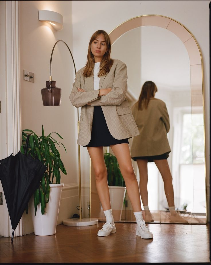 What to Wear With Ankle Socks and Sneakers — Blazer, White Tee, and Black Mini…