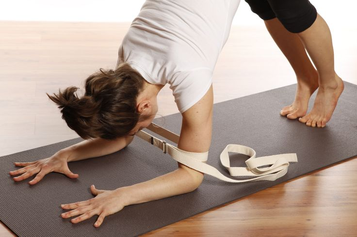 Work up shoulder strength in dolphin with a strap! #yoga #yogaprops