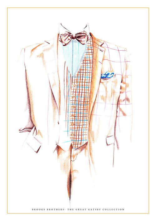 My illustration for the Brooks Brothers Great Gatsby Collection.  Menswear, art, illustration, fashion illustration, mens style, suits, fashion, style, outfit, brown, checkered, plaid, bow tie.