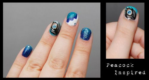 Peacock inspired nails for Barry M's Be Cruelty Free competition.