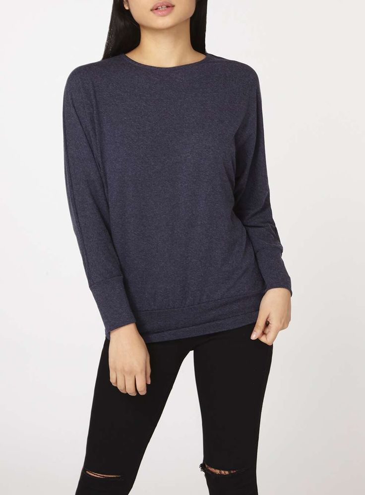 Womens Petite Navy Batwing Top- Blue