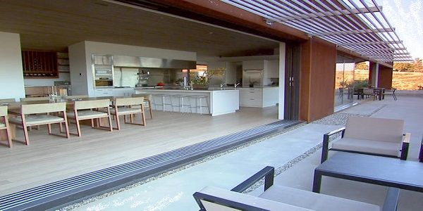 Remarkable Neutral Outdoor Living with Dining Room Design