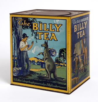 Billy tea tin that depicts a swagman who meets a travelling kangaroo
