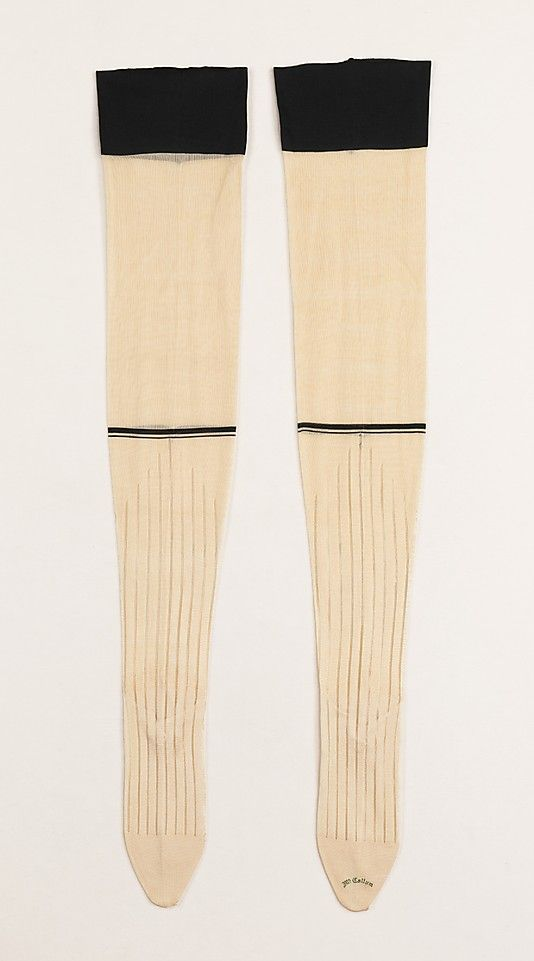 Stockings by McCallum  Date: 1890–99 Culture: American Medium: silk, cotton Dimensions: 34 in. (86.4 cm) Accession Number: 2009.300.1957a, b The Metropolitan Museum of Art