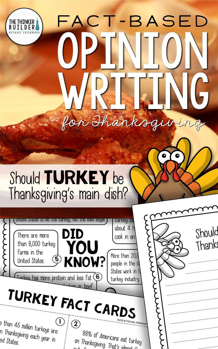 """Opinion Writing for Thanksgiving! Two complete lessons, each with carefully chosen facts included for students to analyze, discuss, and use to support their opinion to two engaging focus questions: """"Should turkey be Thanksgiving's main dish?"""" and """"What is the most important part of Thanksgiving?"""" Complete with lesson plans, printables, and extensions. Gr 2-5 ($). Or see the Year-Long Bundle here: https://www.teacherspayteachers.com/Product/Fact-Based-Opinion-Writing-BUNDLE-2480913"""