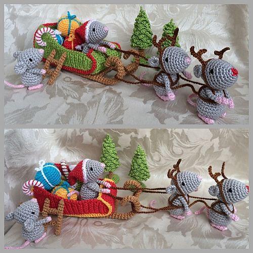 Trineo, renos y un Papá Noel ratón, con los regalos navideños.