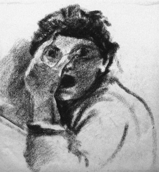 Женский портрет. Христос и Мария Магдалина. Эскизы к циклу росписей «Воскрешение мёртвых»: Рисунки из цикла «Сумасшедшие»: Тут живопись.