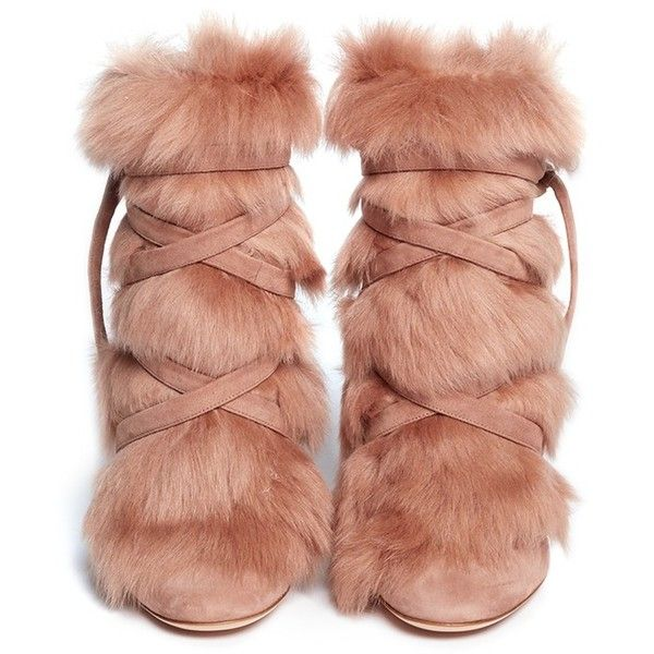 Gianvito Rossi 'Moritz' fur crisscross tie suede boots ($1,625) ❤ liked on Polyvore featuring shoes, boots, suede boots, slipon boots, suede leather boots, criss cross shoes and suede leather shoes
