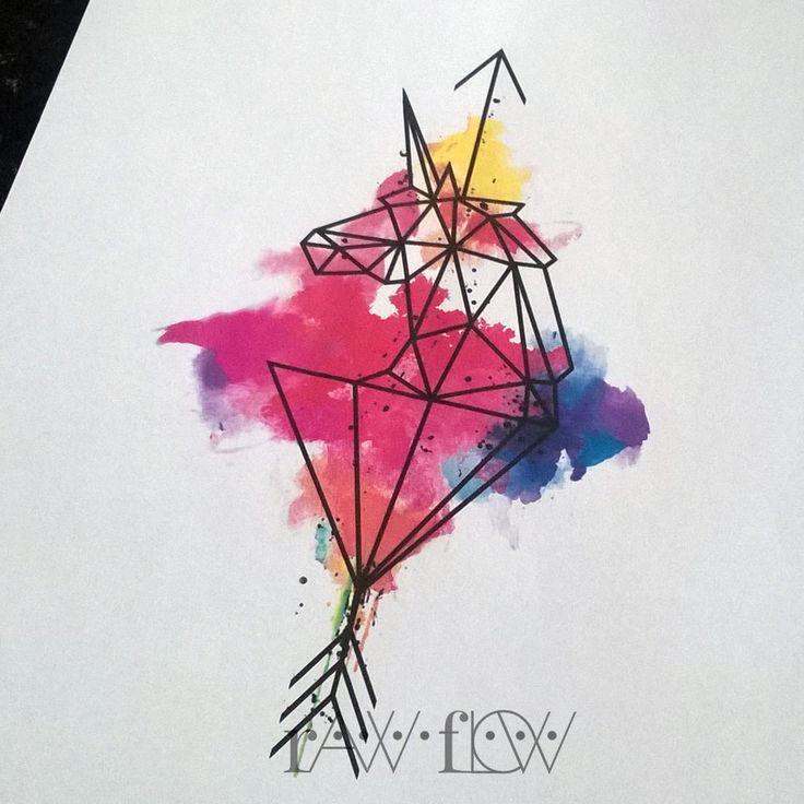 Geometric unicorn with watercolor and arrow
