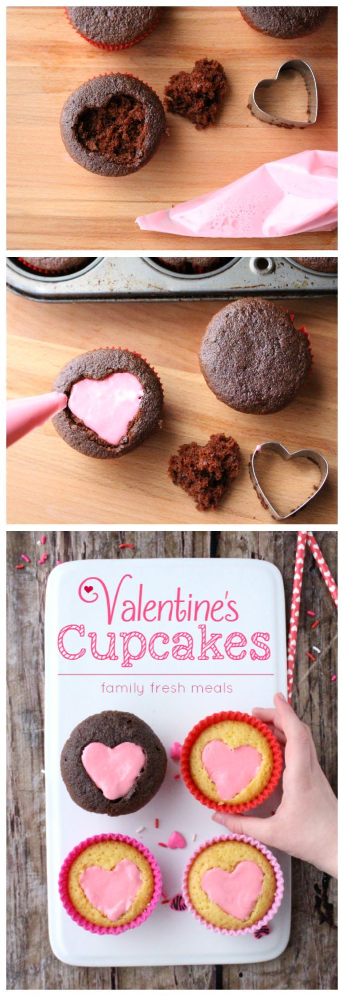 Easy Heart Valentine Cupcakes Recipe - Perfect for Valentine's Day!  http://FamilyFreshMeals.com