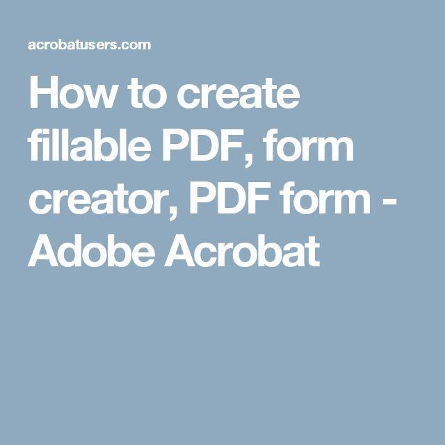 how to create fillable pdf form creator pdf form adobe acrobat - Kuchen U Form Bilder