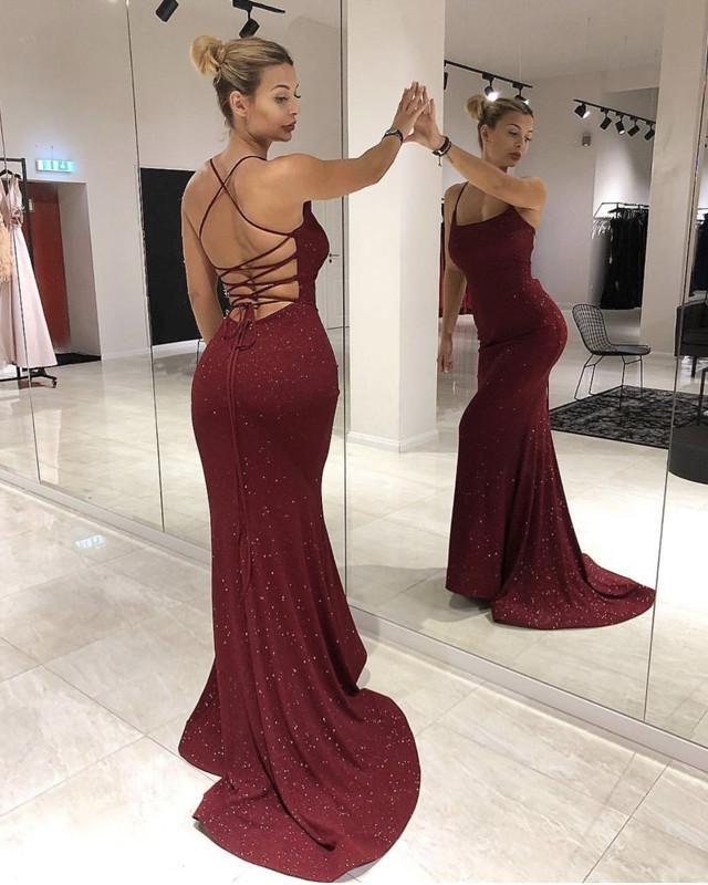 994515349b 2019 的 Mermaid Sequin Evening Dresses Lace Up Back 主题 | Burgundy ...