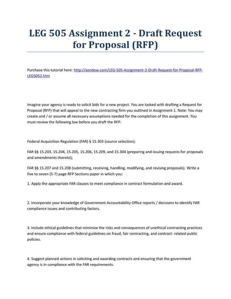 Leg 505 assignment 2 draft request for proposal (rfp) strayer - contract proposal
