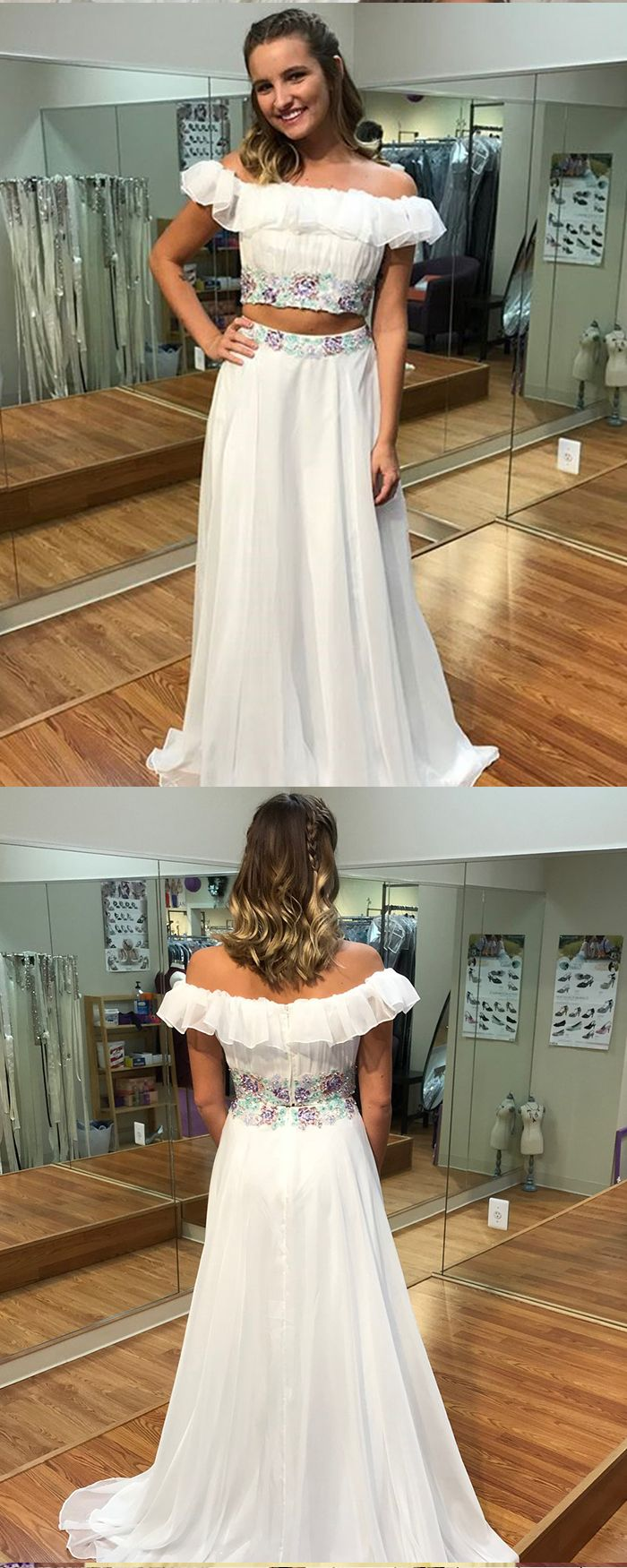 Two piece off the shoulder chiffon white long prom dress pd in