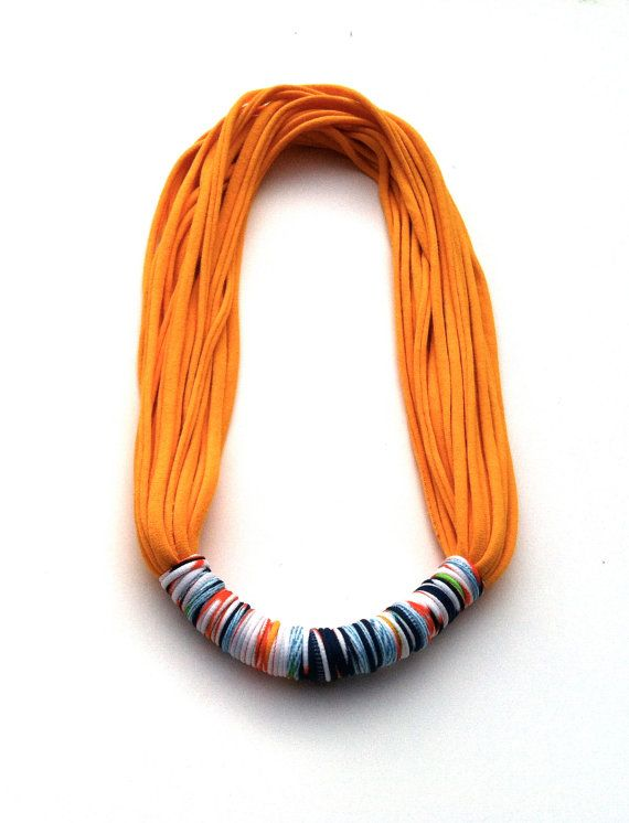 Handmade Scarf Necklace Cotton Jersey T Shirt door pinkpoppyseed