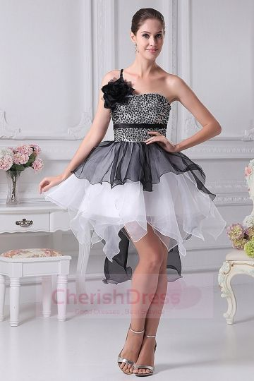 A-Line One Shoulder Mini/Short Dress with Sequins and Flower