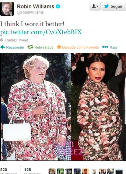 Robin Williams as Mrs.. Doubtfire, and pregnant Kim Kardashian who wore it better? Tweet two floral dresses. He definitely wore it better! Lmao