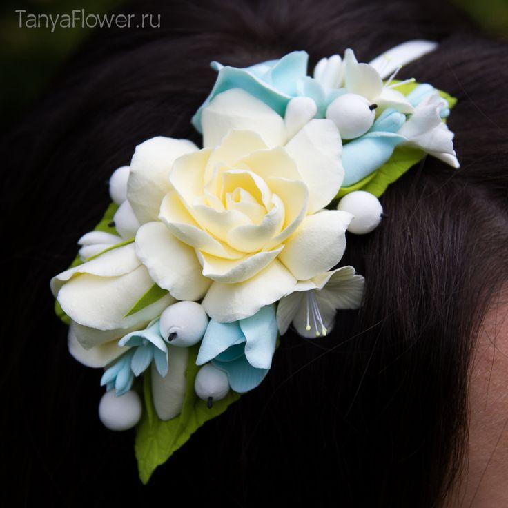 Картинки по запросу свадебные венки бело-синие фото