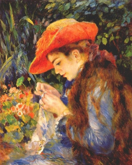 Marie-Therese Durand Ruel sewing - Auguste Renoir
