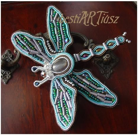 bestiARTiusz: Dragonfly beauty (zoomorphic soutache brooch/ broszka sutasz)
