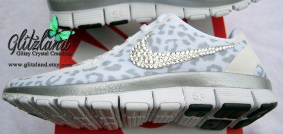 NEW SIZES -White Cheetah Print Women's Nike Free  5.0 V4