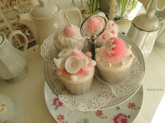 Cupcake Set of 4 Muffin Felt Cake Felt Food Shabby Chic