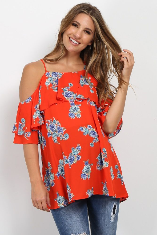 c75ad3d9550027 Floral print open shoulder maternity top. Cami straps. Ruffle trim neckline  and sleeves. Square neckline. This style was created to be worn before,  during, ...