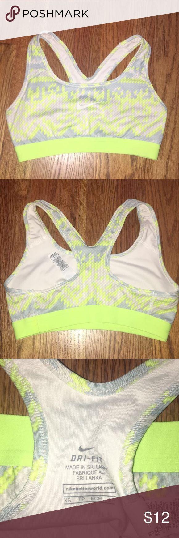 Nike Sports Bra Size XS Nike Yellow, white, and grey aztec print sports bra (In great condition) Nike Intimates & Sleepwear Bras