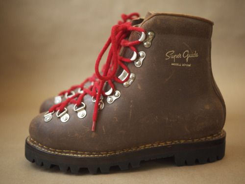 vintage galibier 'super guide' french mountaineering boots. quite arguably the best hiking boots ever made, each crafted from a single piece of leather with solid norwegian welted soles. sold