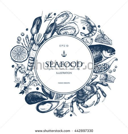 Vector frame with hand drawn seafood illustration -  fresh fish, lobster, crab, oyster, mussel, squid and spice sketch. Vintage menu template.
