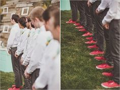 groomsmen in red vans