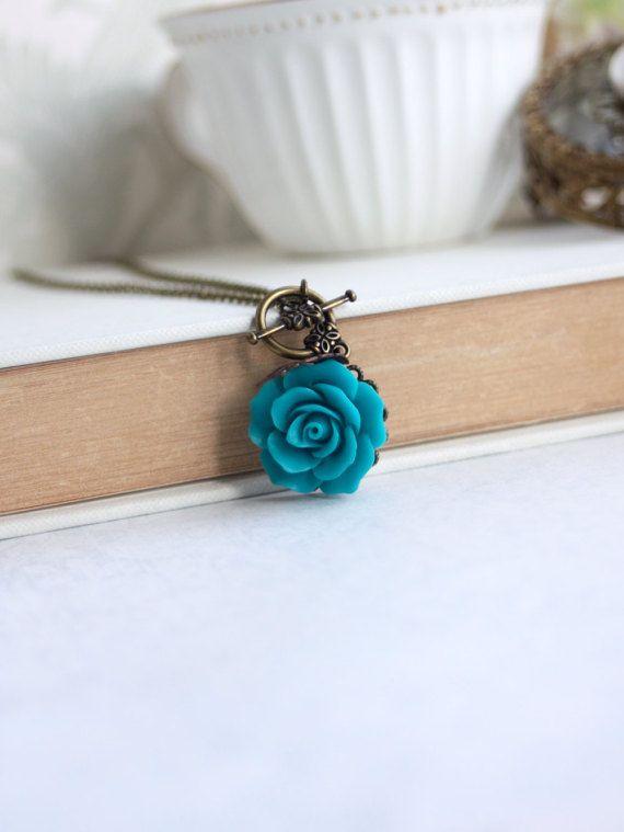 Teal Rose Flower Toggle Necklace. Teal Blue Wedding, Something Blue. Flower Necklace, Teal Wedding. Bridal Necklace, Rustic Teal Necklace
