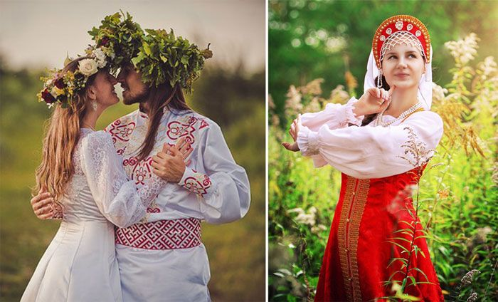 Русская свадьба в национальных цветах