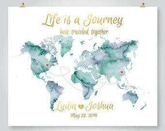 The 25 best map anniversary gift ideas on pinterest adventure personalized map wedding guest book watercolor world map anniversary save the date engagement gift printable digital gumiabroncs Choice Image